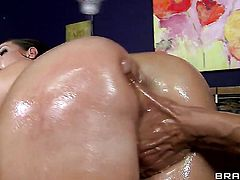 Marco Banderas plays with naughty Kelly Divines anal hole after he pounds her hole with his throbbing meat stick