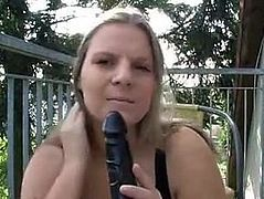 German busty wife dirtytalking and masturbating