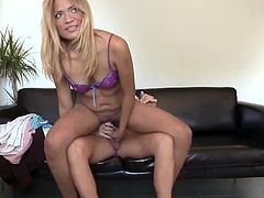 Stunning Blonde woman has It in the brown hole tunnel For Casting Purposes