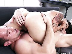 Johnny Castle plays with dripping wet vagina of Oriental Dana Vespoli before he bangs her hard