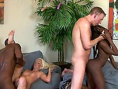 Black and white couples have a great time fucking together. Courtney Taylor, Whitney William, Mark Wood, and Jon Jon fuck like crazy in interracial foursome. Watch and enjoy!