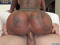 Tattoos Bella Bellz with round butt wants mans worm to fuck her mouth