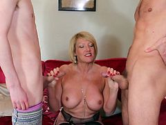 Watch the mature ladies using all their experience to offer maximum pleasure to their partners. In this video, Amy satisfies two fresh guys and she is still horny. Even at this age also, she is looking beautiful and also ready for a hardcore gang-bang. Don't miss those horny expressions!