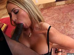 Aline is in her milf stage of life and newly single again. She just needs a good fucking from a big cock, and she knows just where to get it. Her chocolate lover's dong goes down her throat, prompting him to respond, by tonguing her ass.