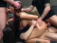 Syren De Mer fulfills her fantasy of being used by multiple men. Surrounded by cocks, she submits to the will of men, who won't stop at nothing to get their way with her. Sight of double penetration, while she is getting fucked in the mouth is priceless for men, who want to feel true power over woman.