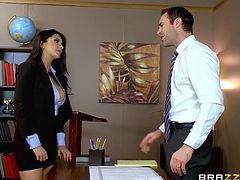 When busty Romi makes her appearance in a teacher's office, the whole atmosphere turns hotter. Is it because of her crazy boobs, hot tattoos or sexy outfit?! Take a look and see the hungry for cock brunette, undressing with sensual movements, then blowing this guy in such an inciting way. Have fun.