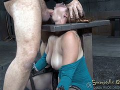 Bella Rossi, a milf in restraints, first gets mouth fucked by a white guy, then she gets a huge vibrator inserted into her pussy. Like that's not enough, she gets mouth fucked again, but this time by a black with huge cock. It's all suggested in chat via live stream, and it makes it even hotter.
