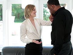 Stunning and sexy interior designer chick Ella Nova takes her clients colossal black cock inside her pink snatch in exchange of having a successful business deal.