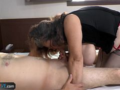 Guy play with big tits and fuck old granny doggystyle