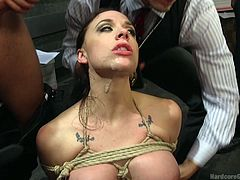 Chanel Preston has a fantasy about her having sex with multiple men. She got her wish fulfilled, except it got little rough. She got tied up, her throat got fucked by huge cocks. She didn't mind, actually, as she was being penetrated from behind, she encouraged others to fuck her cock hungry mouth.