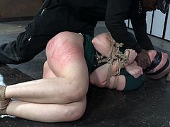 When it comes to punishing disobedient slaves, Jack Hammerx is one of the best. Despite of repeated warnings, Kel Bowie didn't change her behavior and Jack decided to punish her. He whipped her ass and soft tights with a cane, and she can't escape from suffering, as she was tied-up and blindfolded.
