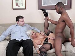 White cuckold wife gets fucked in front of her wimpy cuck hubby, by her naturally potent big black cock stud, that loves inseminating wealthy married women. It is an act of natural selection, when fertile white females chooses strong cocks and cum of black alpha males. Perfect humiliation experience!