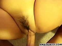Amateur girlfriend with big tits sucks and fucks with creampie