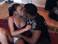 Black couple want to try something new and wild so they decided to make a homemade video. Petite girlfriend laid down on the floor as he did his job licking her vagina while she moaned.