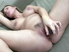 Cute pregnant girl lactating and toy fucking her pussy