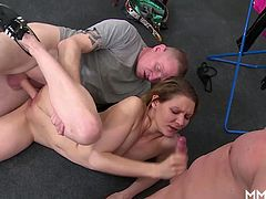 Charleen is one horny German Milf and she has a tight petite body. These workers are looking for some action and peep on her and approach her, strip her clothes and bang her brains out.