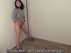 Japanese Pee Desperation in HD featuring an eager bottomless amateur who after holding in her urine forever is instructed to let it all out while standing up for distance with English subtitles