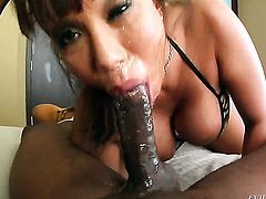 Ava Devine is on the way to the height of pleasure with Jonni Darkkos love stick in her mouth