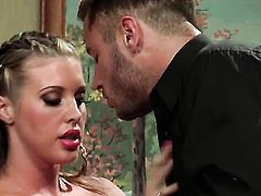 Samantha Saint with massive jugs finds herself blowing mans throbbing cock