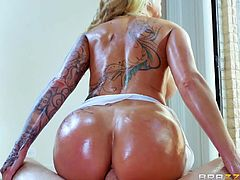 This versed blonde with tattoos and big fascinating tits, generously exposes her crazy oiled ass in front of the camera! Click to watch the slutty milf, sucking and riding dick, or getting pounded hard, from behind. Don't miss the intense scenes.