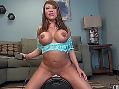 Ava Devine sits milf pussy on Sybian for a ride