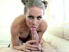 Blonde hottie Nicole gives a nice POV blowjob