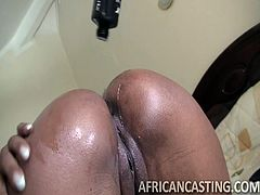 This African bitch loves riding cocks. She sure wants to prove herself in front of the camera. Gotta admit, she has mad riding skills and that bubble butt is a gift from heavens. Tight pussy, nice ass and love for cocks make this ebony slut very desirable. Wouldn't you wanna stick your dick in her?