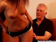 This pretty babe is eager to give in to an older admirer. She welcomes the horny old man with a seducing smile, than begins to undress with provocative movements. Watch her sucking dick with great passion. She seems so willing to do more, click to see!