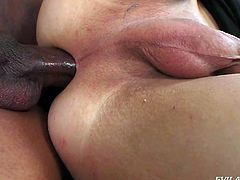 This hot interracial scene features a stunning shemale, gobbling down on a man's massive black dong. She has made that big cock nice and wet, so now she is ready to take it deep in her ass, like a very bad girl.