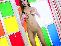 What a stunning ladyboy slut she is! This is one of the most erotic solo masturbation videos you will find on the Internet. She is rock hard and just about ready to explode all over her bed. Lita wishes to have a guy like you, to lick up her spunk.