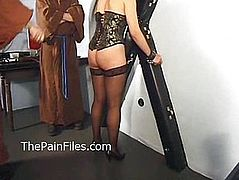 Mature masochist whipped in bondage and slavesex of hardcore fucked leather sub dominated in rough blowjob and brutal sex with kinky monks