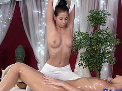 Paula is with another woman in the massage room. With no one else around, the fun begins! The slinky slut slathers oil all over her client, but that's just so the sex is even hotter. They quickly go to the pussy rubbing and fingering.
