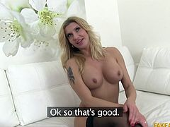 busty blonde goes all out