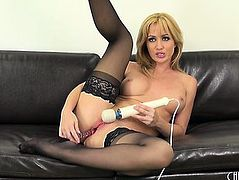 Sexy Golden-Haired Gal,fearsome Angela Sommers Goes To City In This Solo Performance