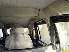 This bride is late for her wedding. She jumped into the first taxi, but bad news for her, its a fake taxi. On top of that she forgot the money and as you know it, there is no such thing as free ride. Gas, grass or ass as they say it, she had no choice but to pay with her delicious ass!!