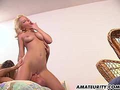 2 very hot amateur Milf in this homemade hardcore threesome action ! Ending with a hot double facial cumshot !