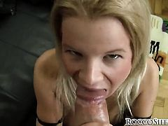 Rocco Siffredi stretches lovely Bianca Lovelys backdoor with his throbbing cock to the limit after she gives blowjob