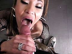 Exotic Jayden Lee with huge tits sucking the jizz out of Rocco Siffredis meat pole before she gets fucked in her booty