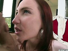Redhead enjoys hard sex with her fuck buddy too much to stop