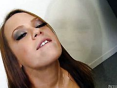 Yummy cutie loves getting her throat stuffed by horny guy