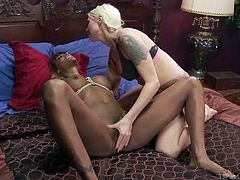 Blonde goddess Lorelei, needs black cock and she will get it, anywhere she can find it. That includes shemale dick. The hottie plays with the big ebony dong and rubs Natassia's elegant taint. Check out this hot tranny on woman action.