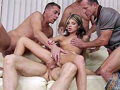 One cock is not enough to satisfy these cum hungry sluts. They always ask for more while getting fucked and the dream of Gina Gerson became true with this session. She gave blowjob for all four cocks and her moans are too loud, while enjoying double penetration.
