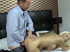 Stella pinches her nipples while she gets fucked from behind