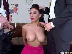 With hands tied strongly, this attractive milf with stilish hairdone, is persuaded into pleasing two horny guys. While one of them stuffs his dick down her throat, the other one bangs her hard, from behind. See slutty Rachel playing dirty!