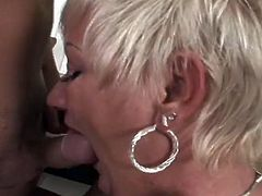Just because menopause has entered Amanda's life, it doesn't mean that her sex drive has vanished. Unlike many women, her desire is as high as it has ever been. She moans, when her lover's tongue caresses her pussy, and she make sure he feels good with some great head.