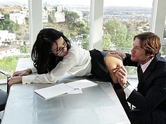 Megan looks extremely hot and the office outfit she's wearing, really suits her. This attractive brunette is in love with her boss and today, she's ready to entertain him, during work. See her crazy ass rimmed with passion and enjoy the kinky details!
