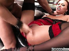 Kid Jamaica attacks sexy AlysaS butt with his love torpedo before she gets her throat used