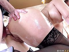 Syren De Mer with huge breasts cant live a day without taking Danny Ds throbbing worm in her backdoo