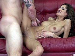Chloe throats his dick then sits on it and bounces