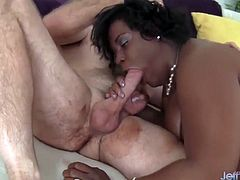 Big boobed black plumper gets her tits and ass licked good. Later she gives the guy a good blowjob and takes his fat dick inside her pussy.